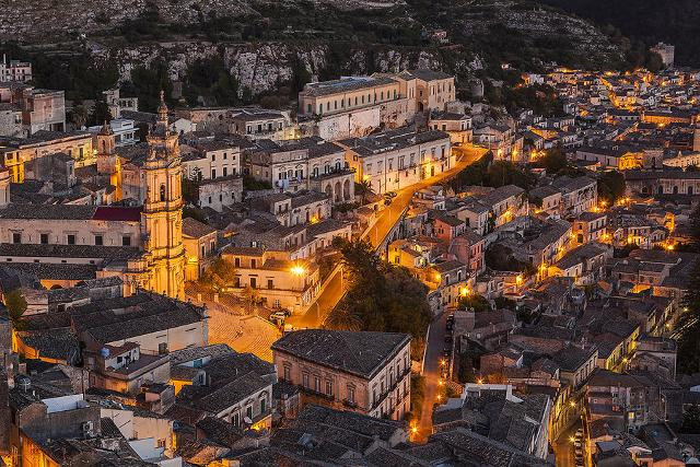historical view of Modica with lights